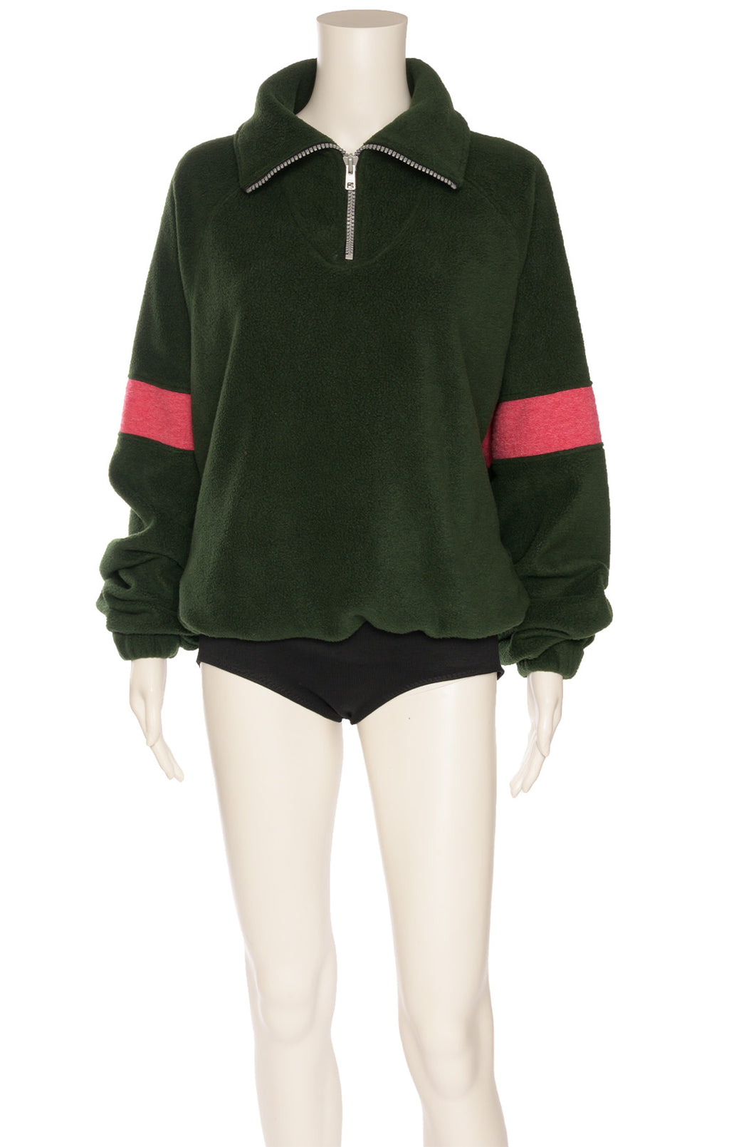 Green with pink polar type short zipper front pullover