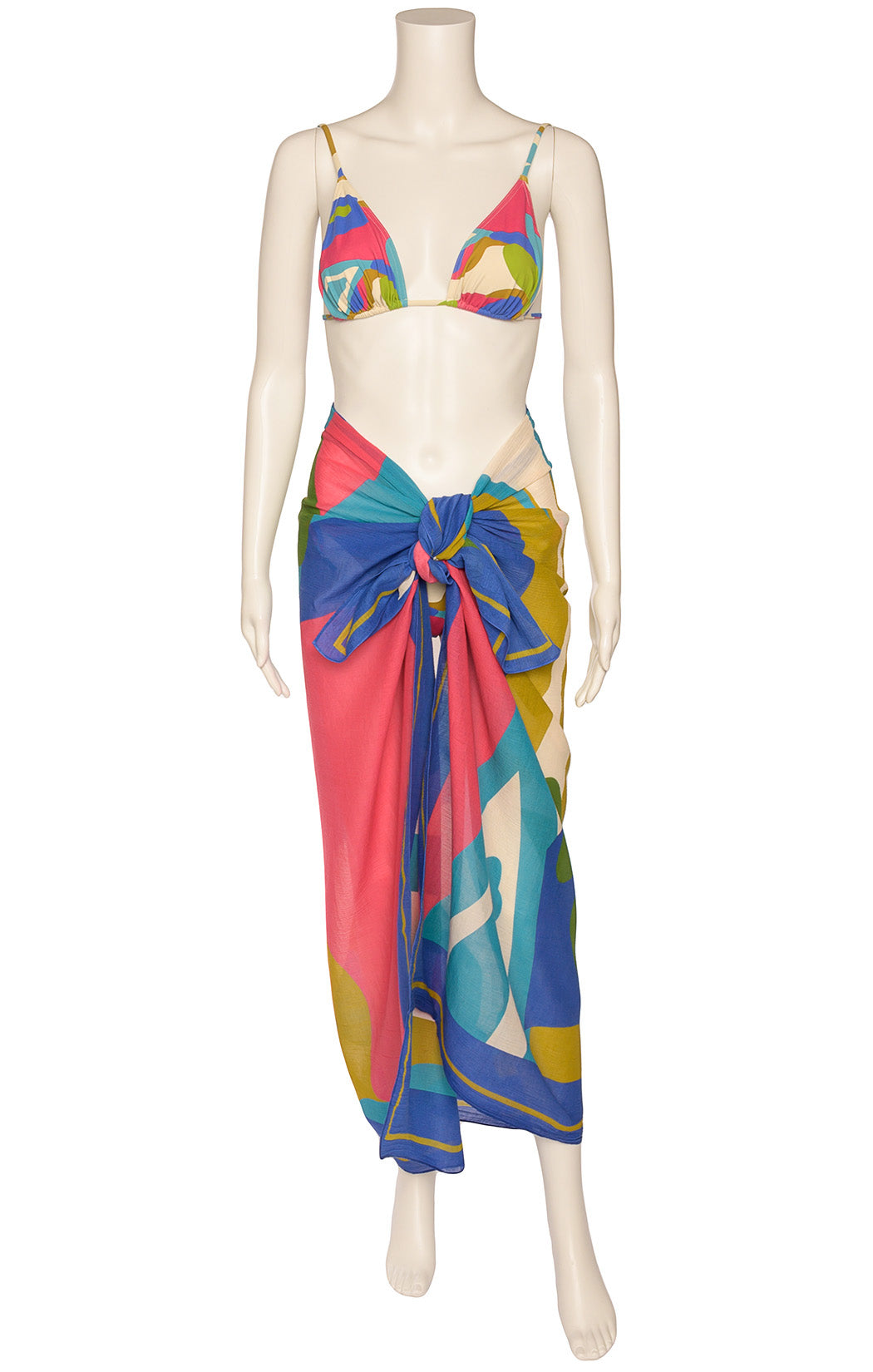 Front view of ERES Bikini and matching sarong Size: Top-12, bottoms-10, sarong O/S