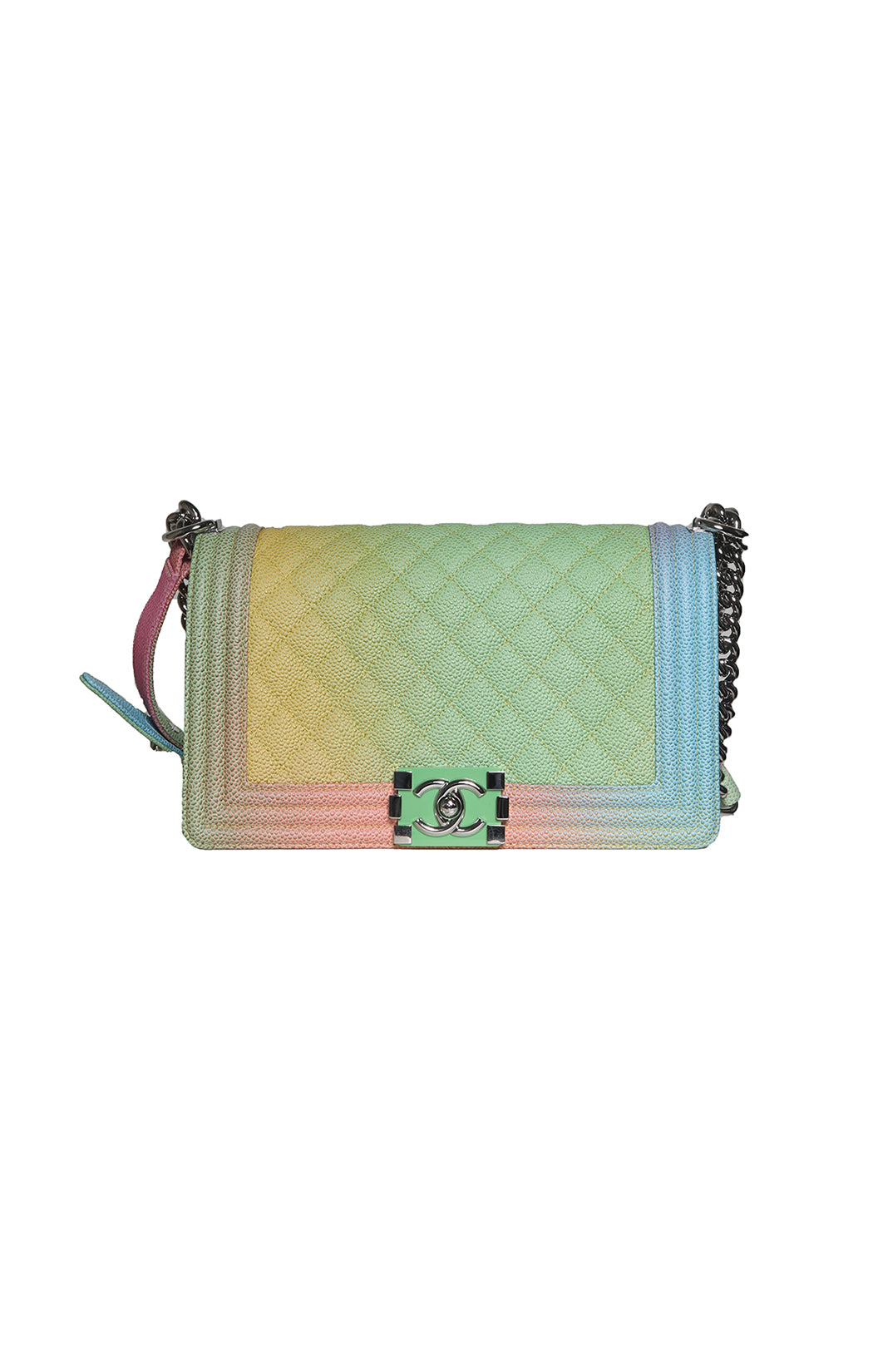 Front view of CHANEL Rainbow Leather Purse Size: 10 x 6 x 3.5 in.