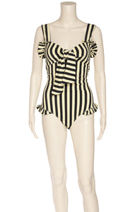 Front view of PAPER LONDON with tags One piece bathing suit Size: Large