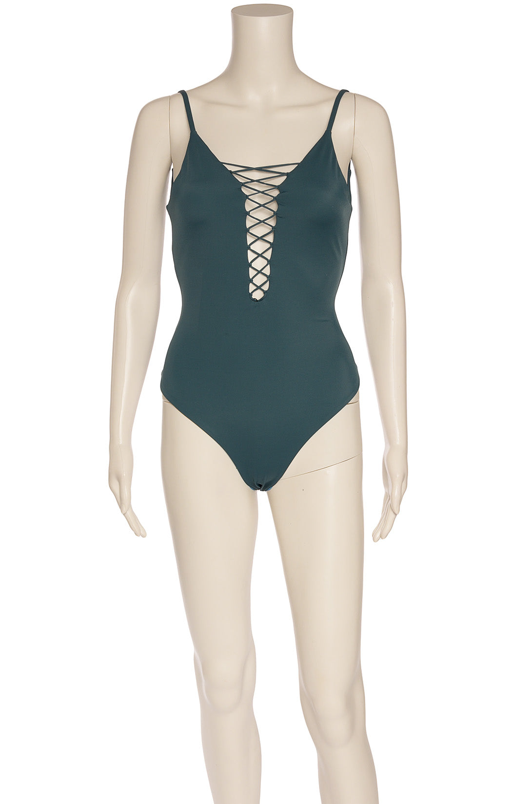 Front view of OLA FEROZ with tags One piece bathing suit Size: Large