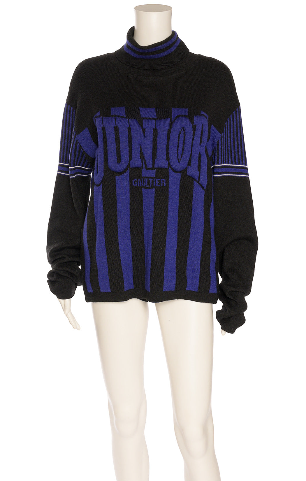 Black and purple turtleneck sweater with front logo with stripes on long sleeves