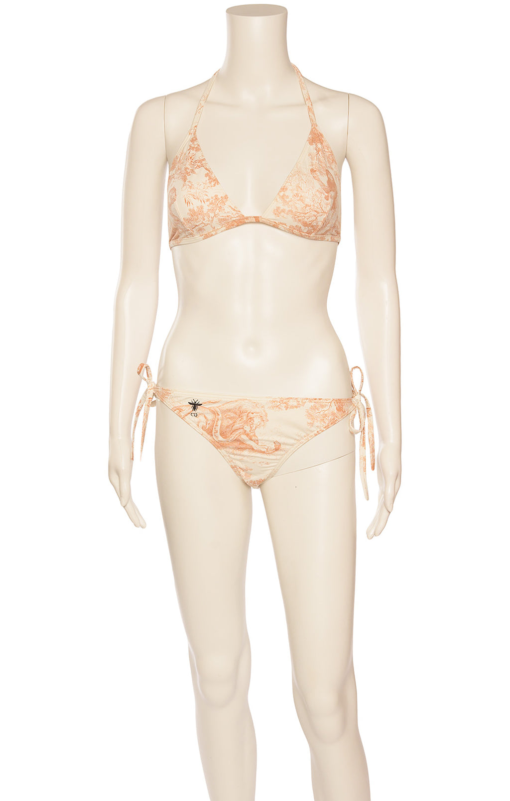 Front view of CHRISTIAN DIOR  Coverup & bikini Size: Top FR 40 (comparable to US 8) Bikini is Large