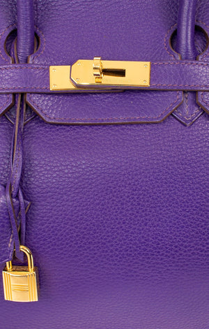 Closeup of HERMES Birkin 30 Handbag gold hardware