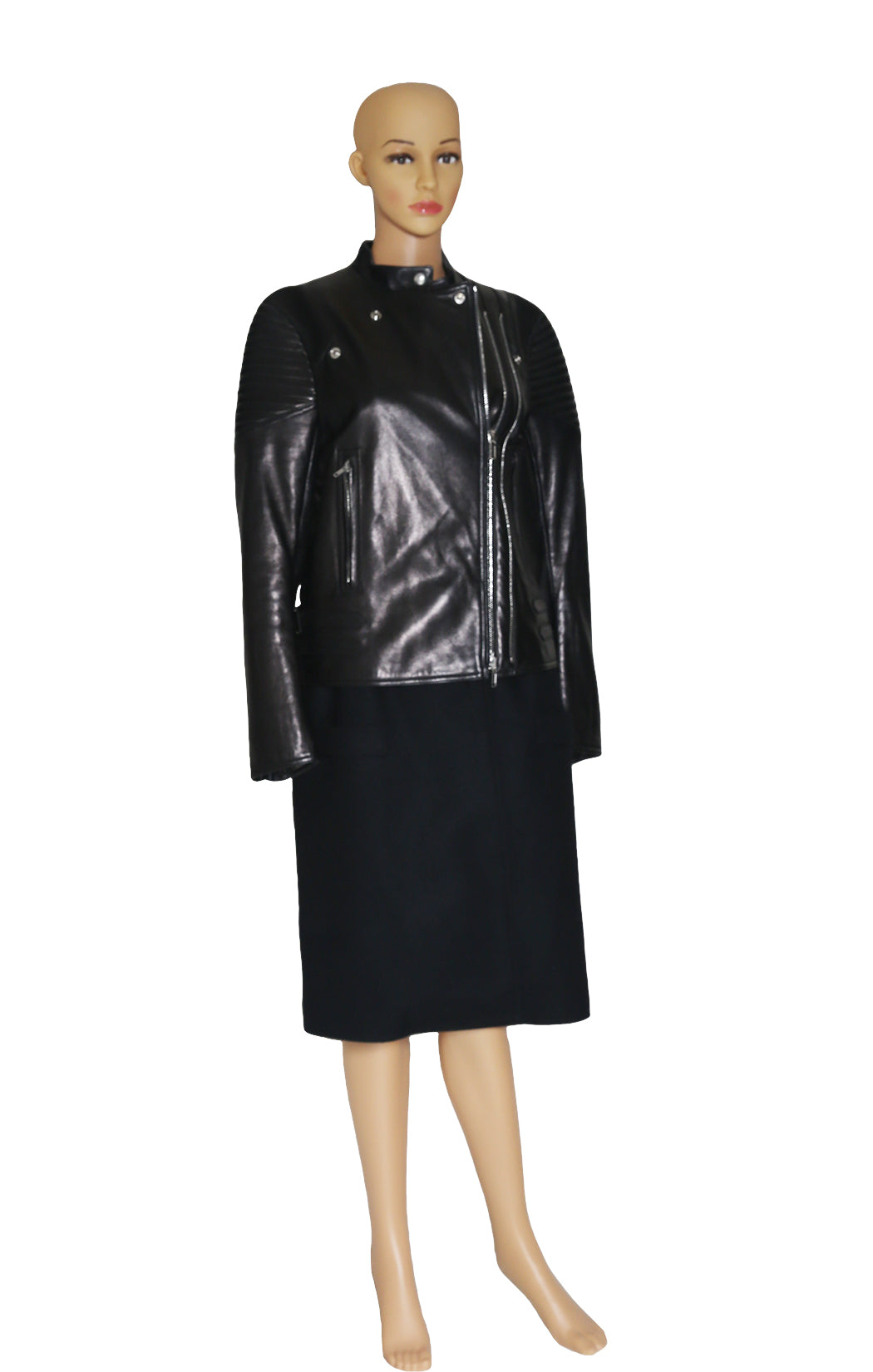 Front view of GIVENCHY Leather and Wool Coat