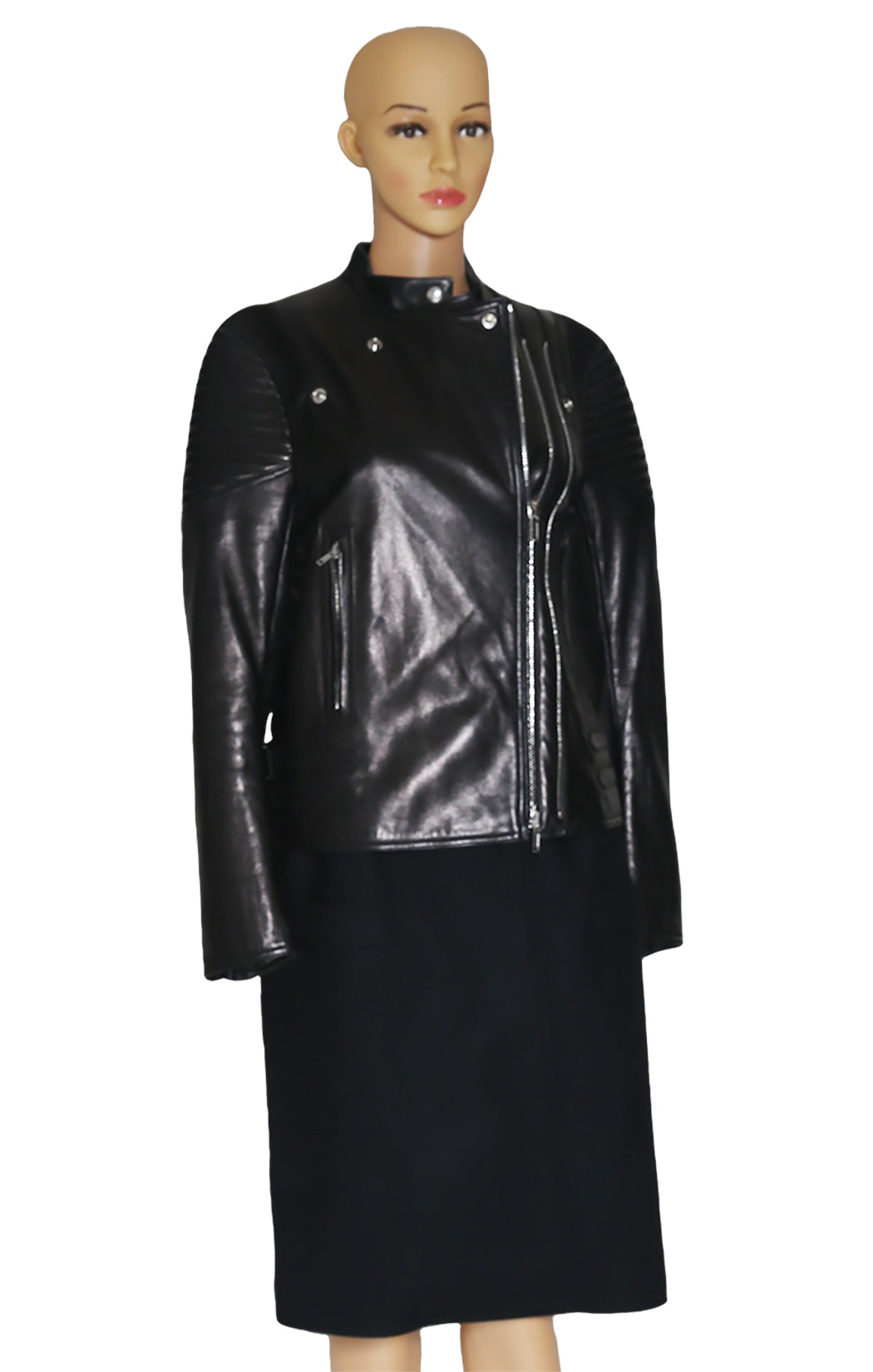 Closeup of GIVENCHY Leather and Wool Coat Size: FR 42 (US 10)