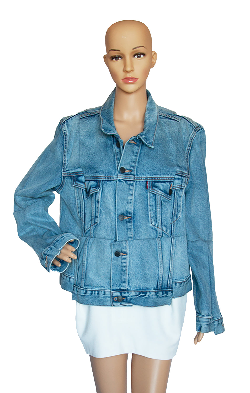 Closeup view of VETEMENTS Denim Jacket with Tags Size: Large