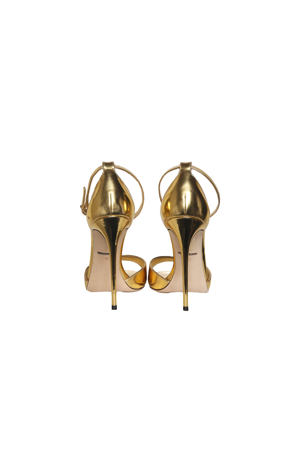 Back view of DOLCE & GABBANA Gold High Heeled Sandal