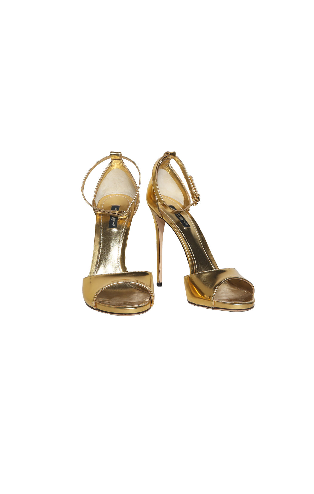 Front view of DOLCE & GABBANA Gold High Heeled Sandal Size: 39 (US 9)