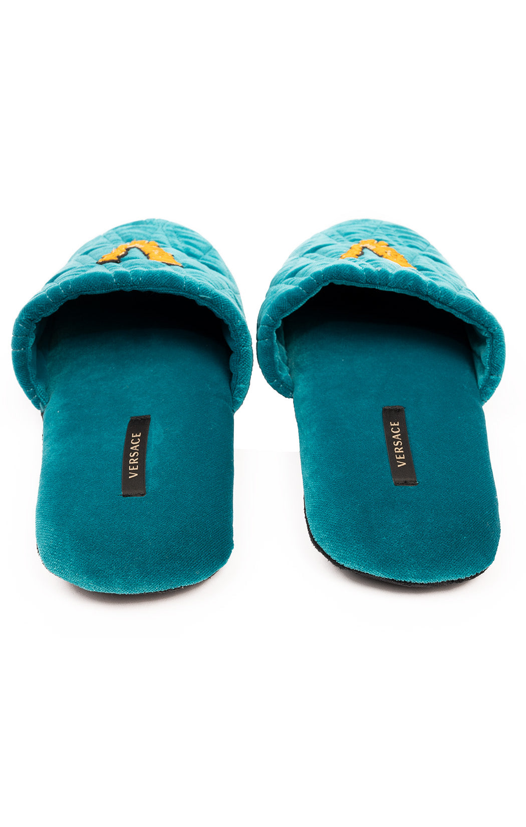 Turquoise dark blue with gold emblem quilted slippers