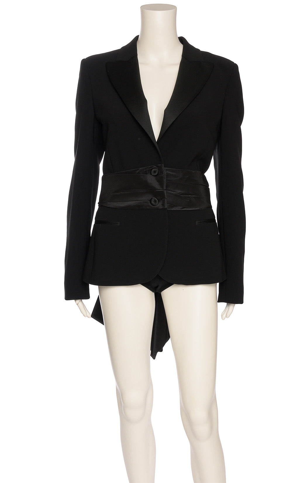 black taffeta jacket with bow