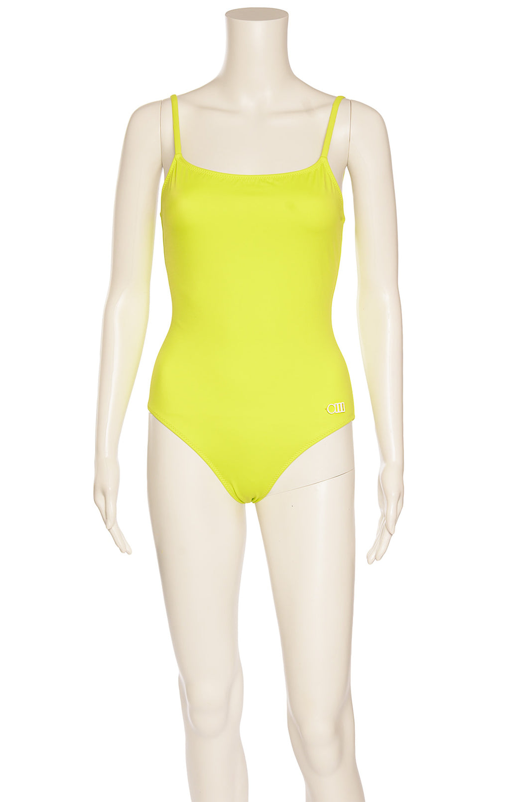 Neon green one piece bathing suit