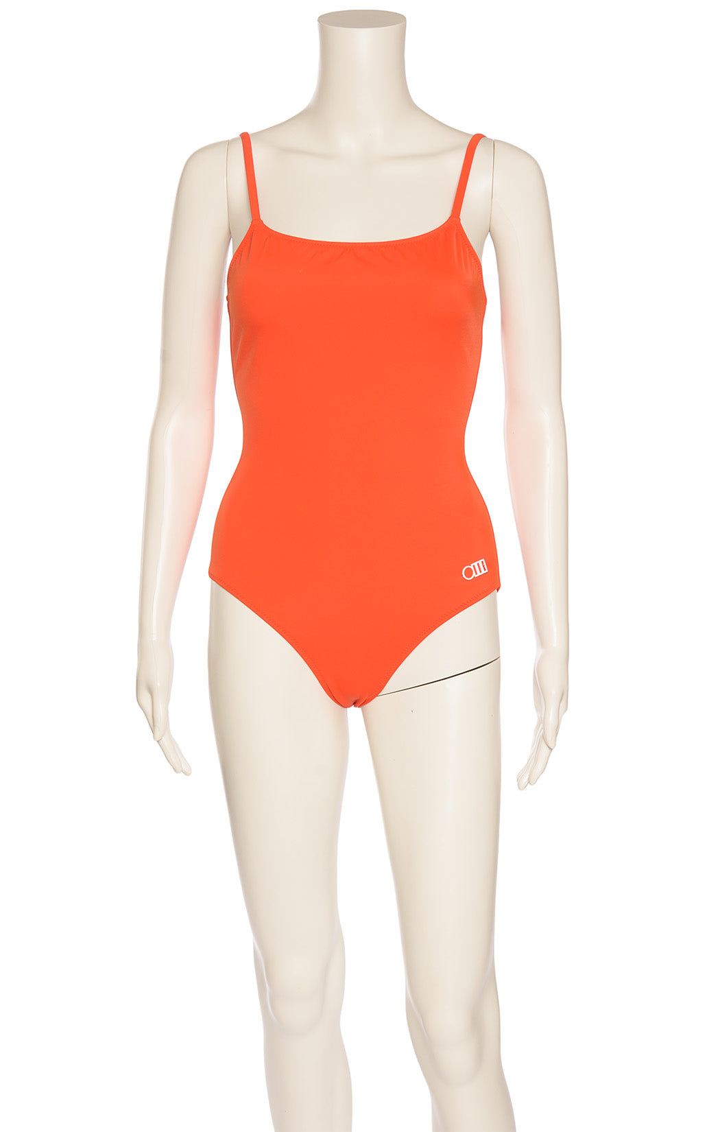 Orange red one piece bathing suit