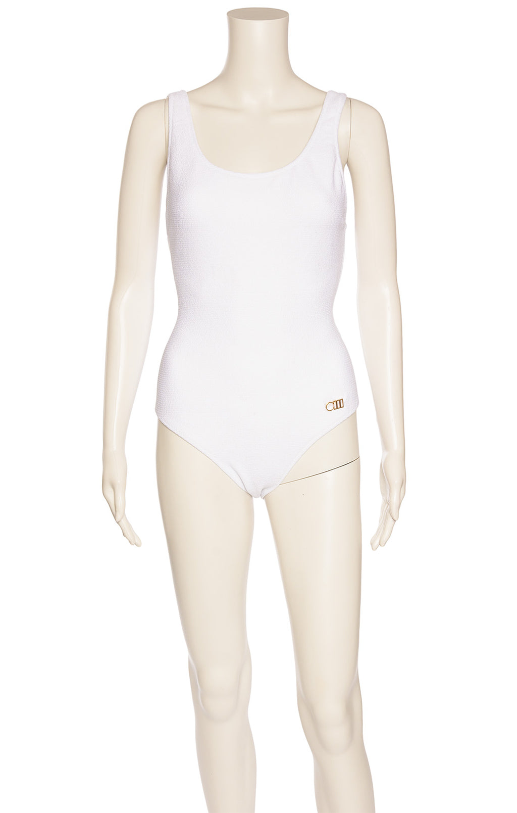 White one piece textured fabric bathing suit