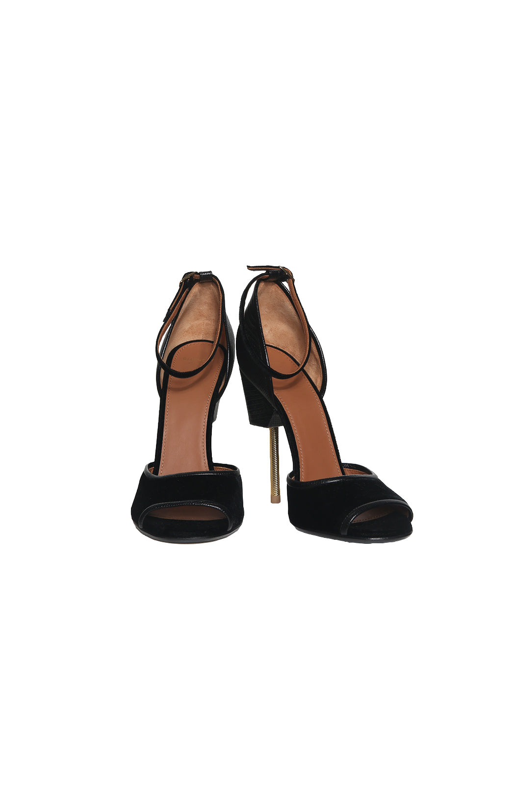 Front view of GIVENCHY Black Velvet/Lizard High Heeled Sandal Size: 39 (US 9)