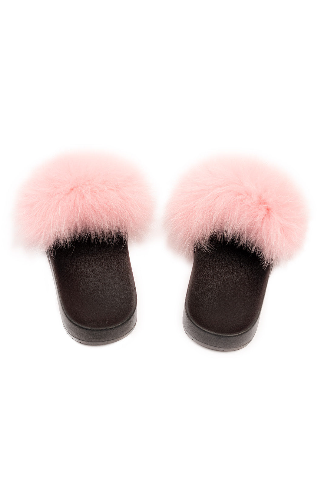 Pink faux fur Slides with black rubber bottom