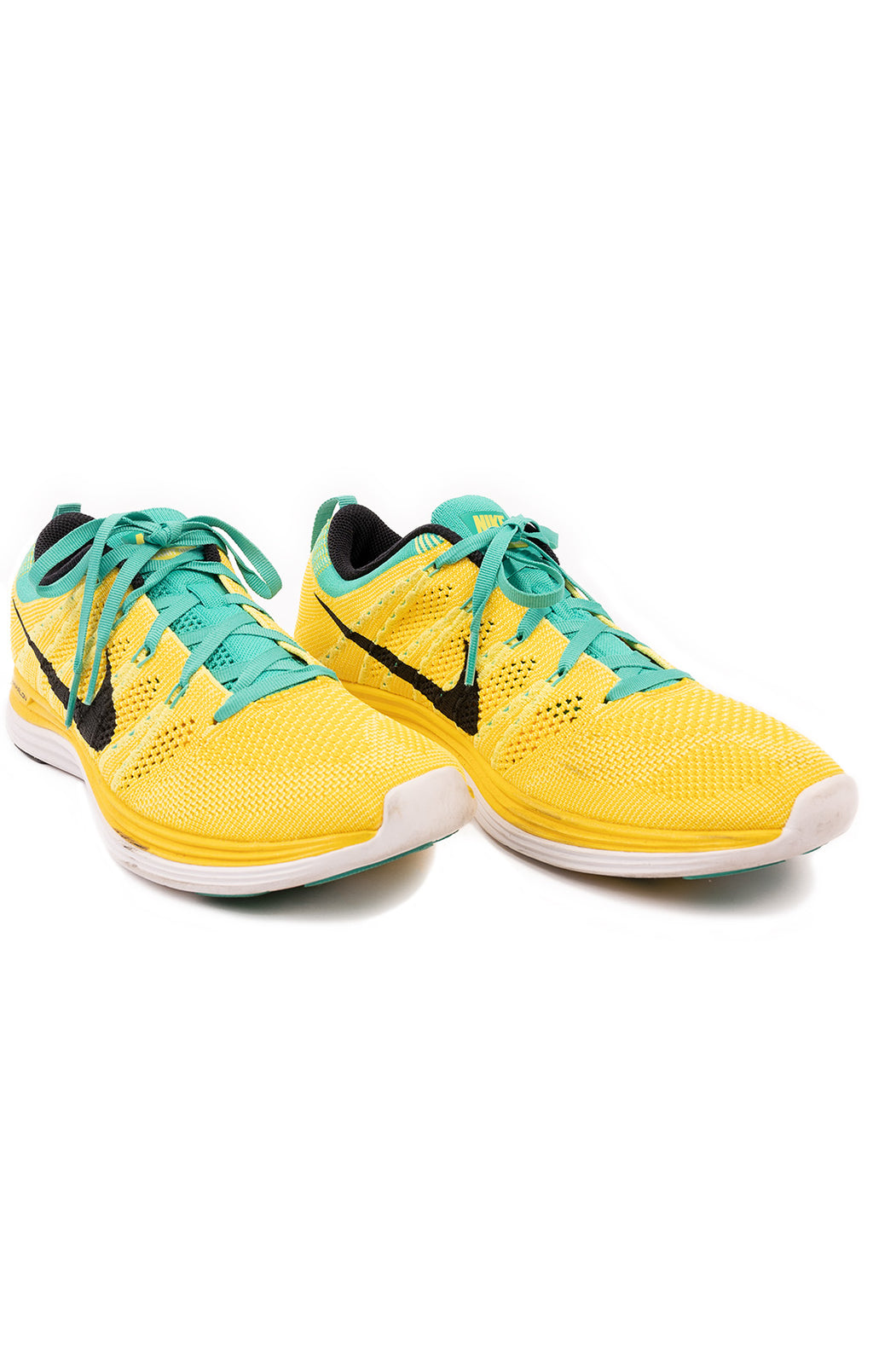 NIKE Yellow and green fabric tennis shoe