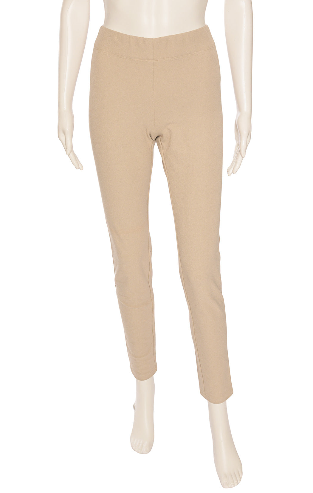 Khaki form fitting gabardine leggings with elastic waistband