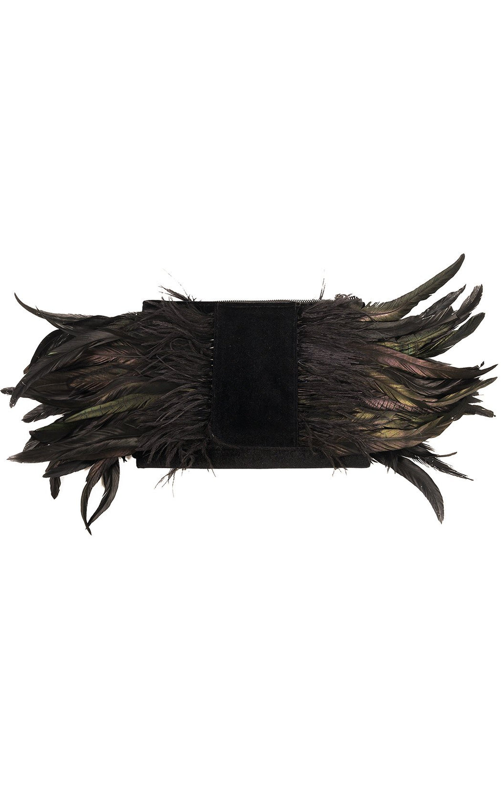 "Front view of NO NAME Clutch Size: 11"" W x 8"" H x 1"" D (with 9"" of feathers on each side)"