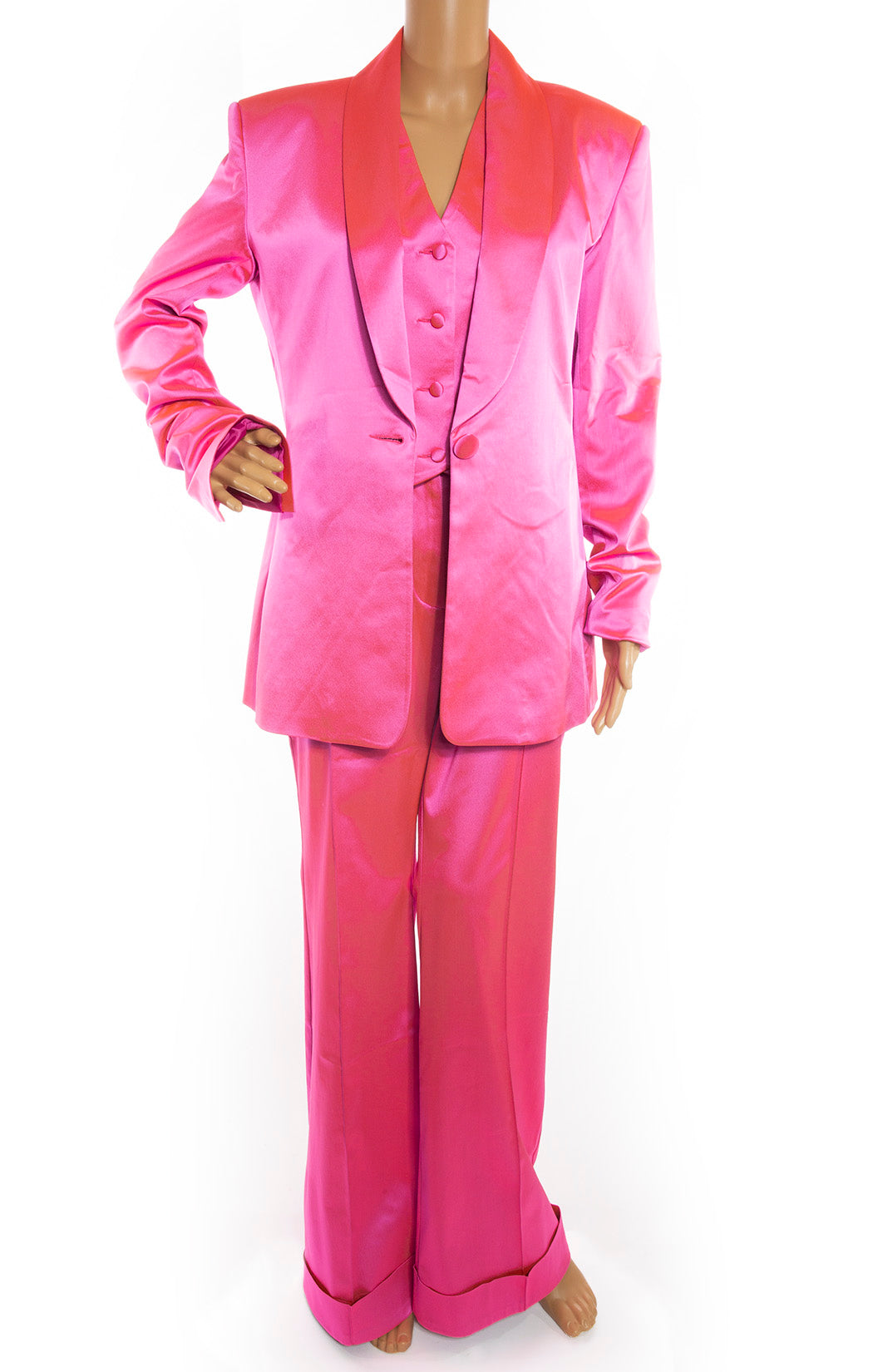 Front view of HOUSE OF HOLLAND Suit Set with Blazer, Vest, and Pants (all with tags) Size: US 6