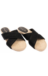 Black logo crisscross sandal/slide with natural colored espadrille sole