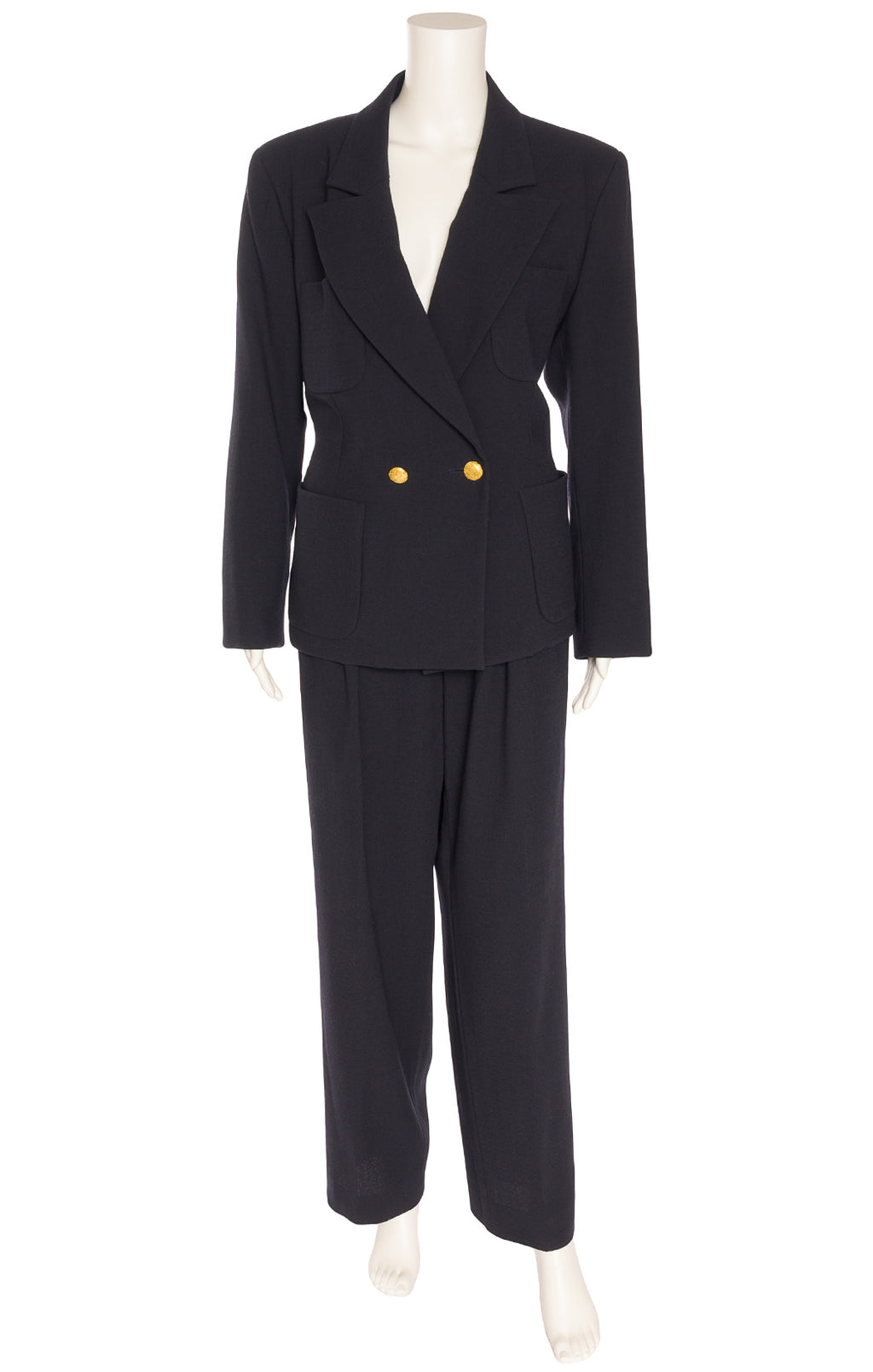 Navy double breasted jacket with front top and bottom pockets, gold buttons with matching trouser style pant with side pockets