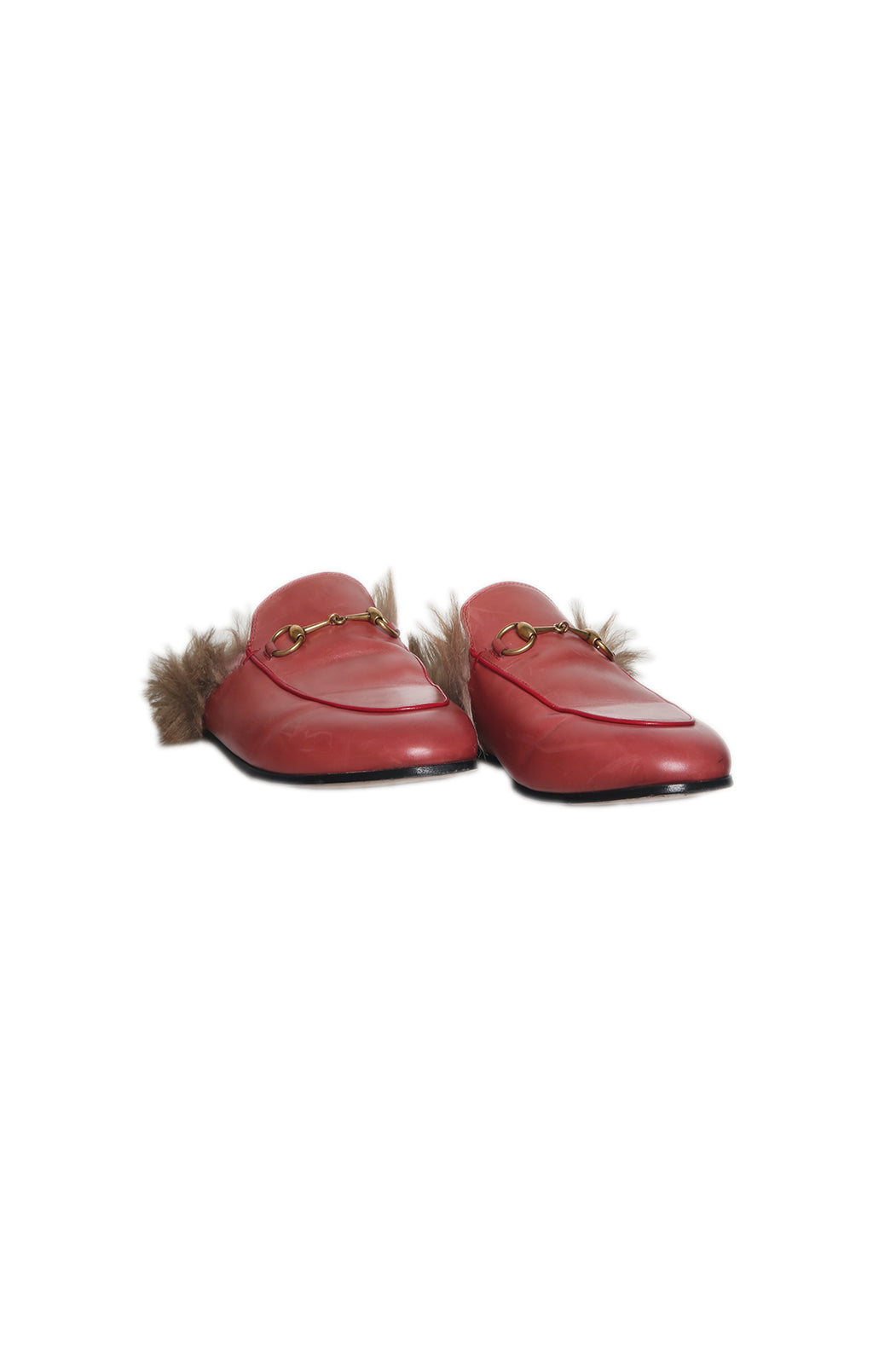 Front view of GUCCI Red Slides with Fur Size: 39 (US 9)