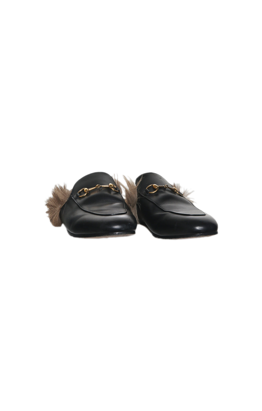 Front view of GUCCI Black Slides with Fur Size: 39 (US 9)