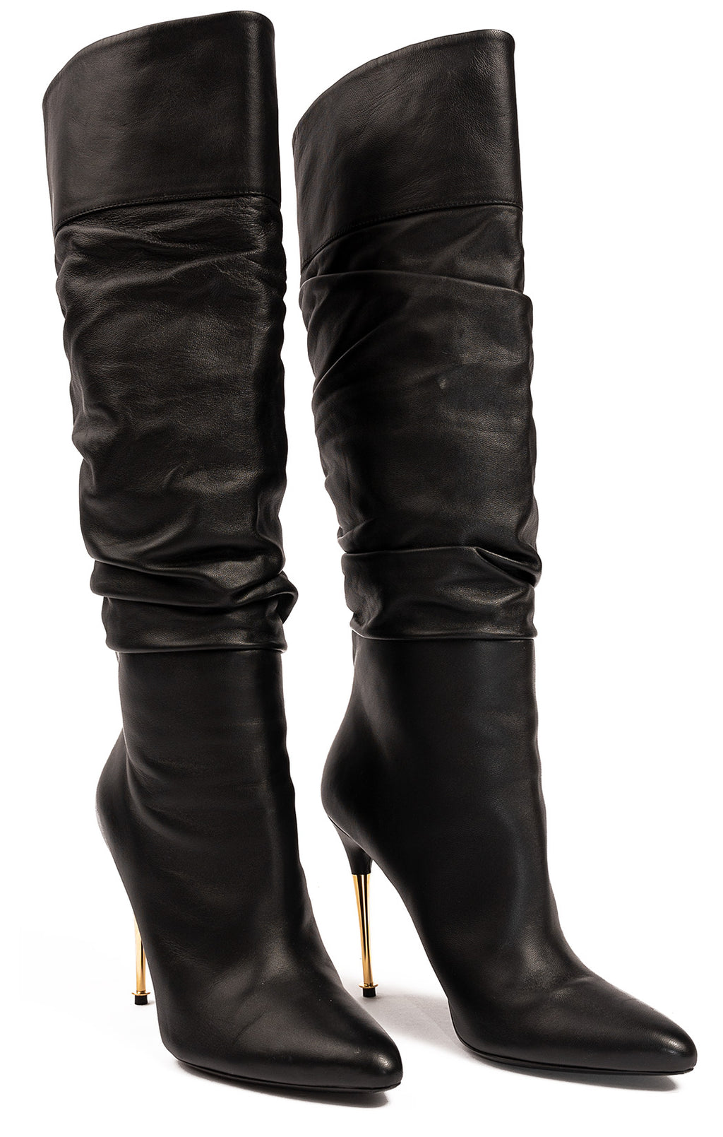 "Black leather boots with gold 4.25"" heel"