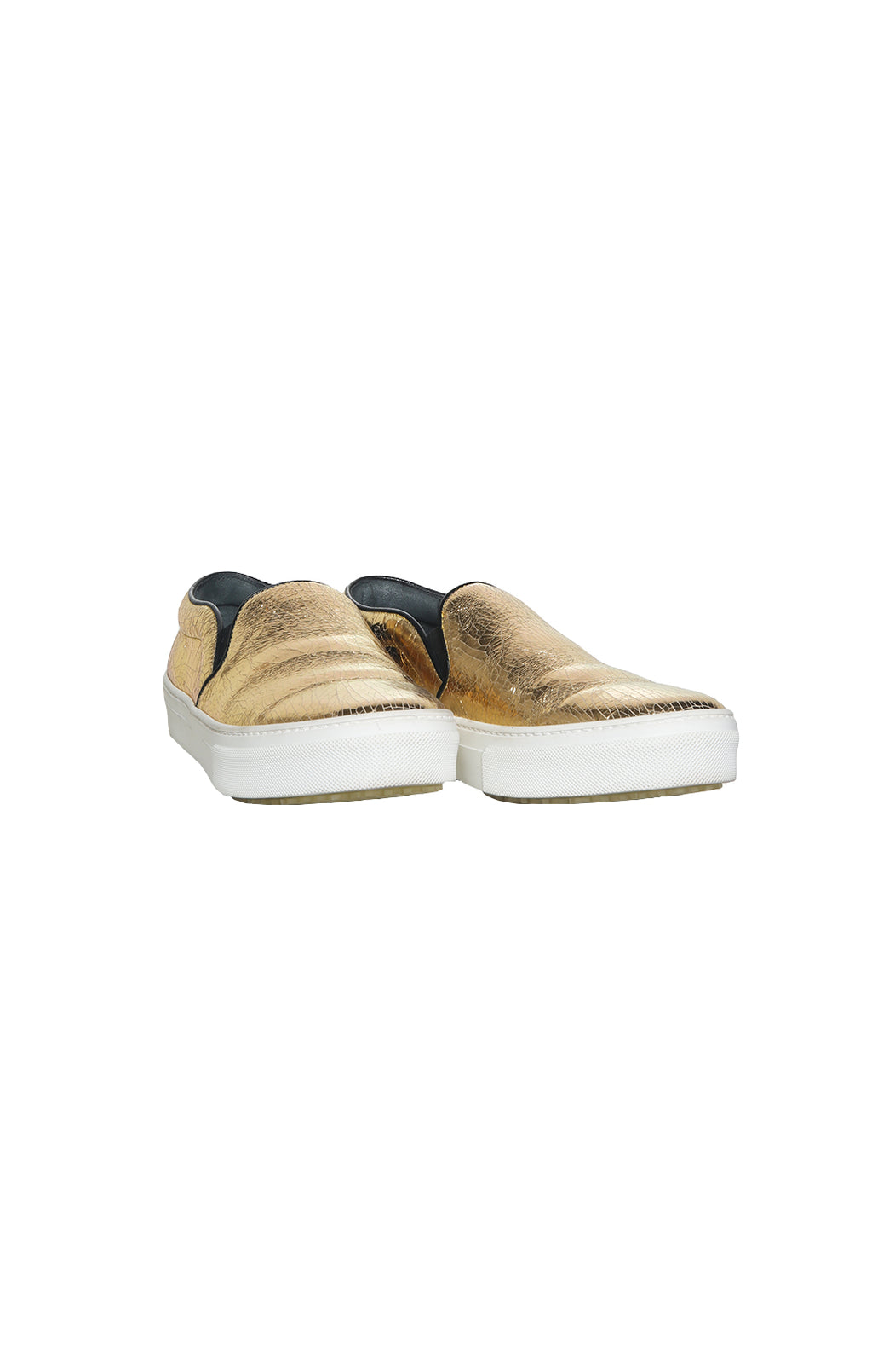 Front view of CELINE Gold Slip On Tennis Shoe Size: 38 (US 8)