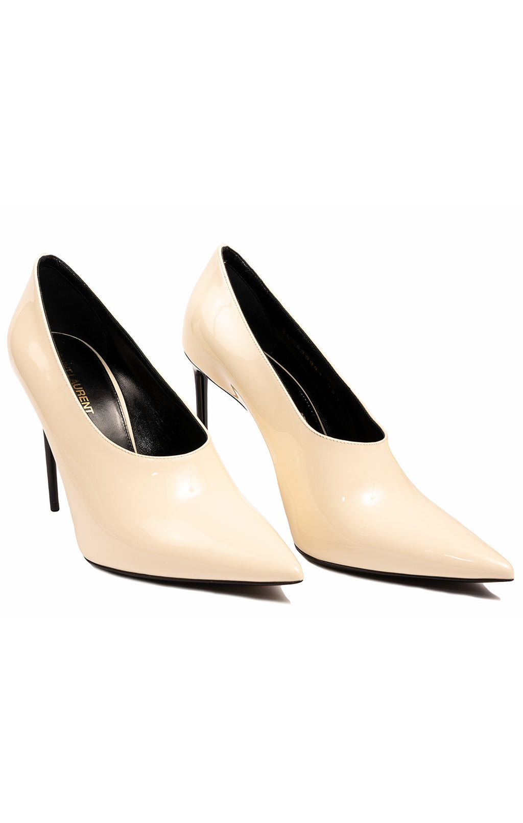 "Ivory pointed toe pump with 4.25"" black patent heel"