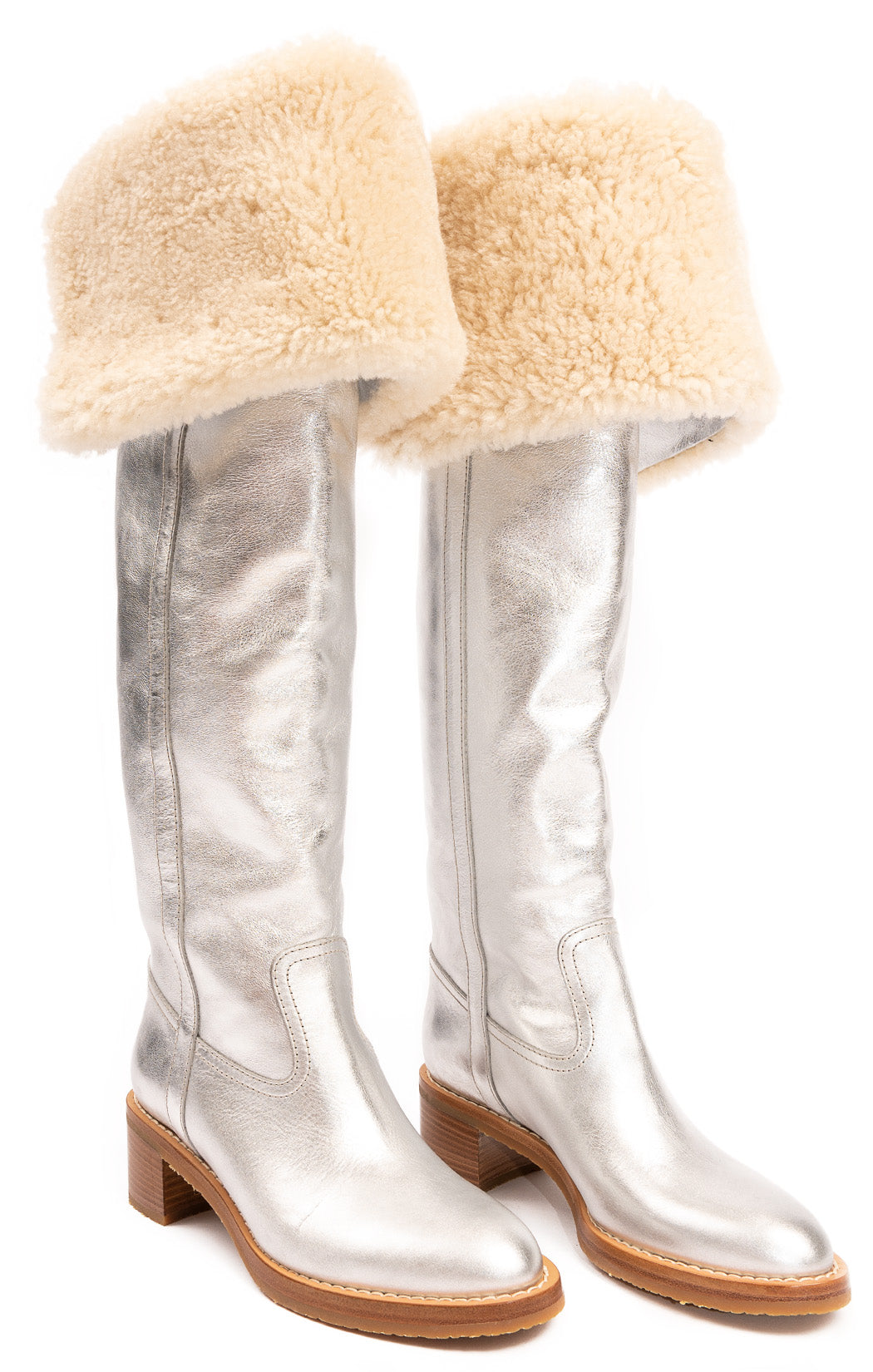 "Silver with beige fur pull on boots with 2"" block heel"