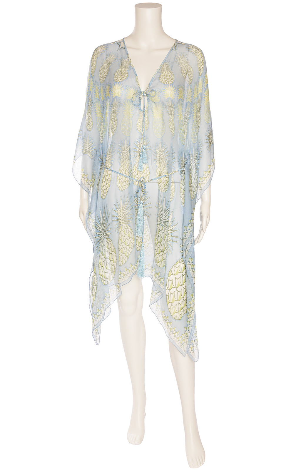 Blue with green and white pineapple print caftan  with waist tie and asymmetrical handkerchief hem