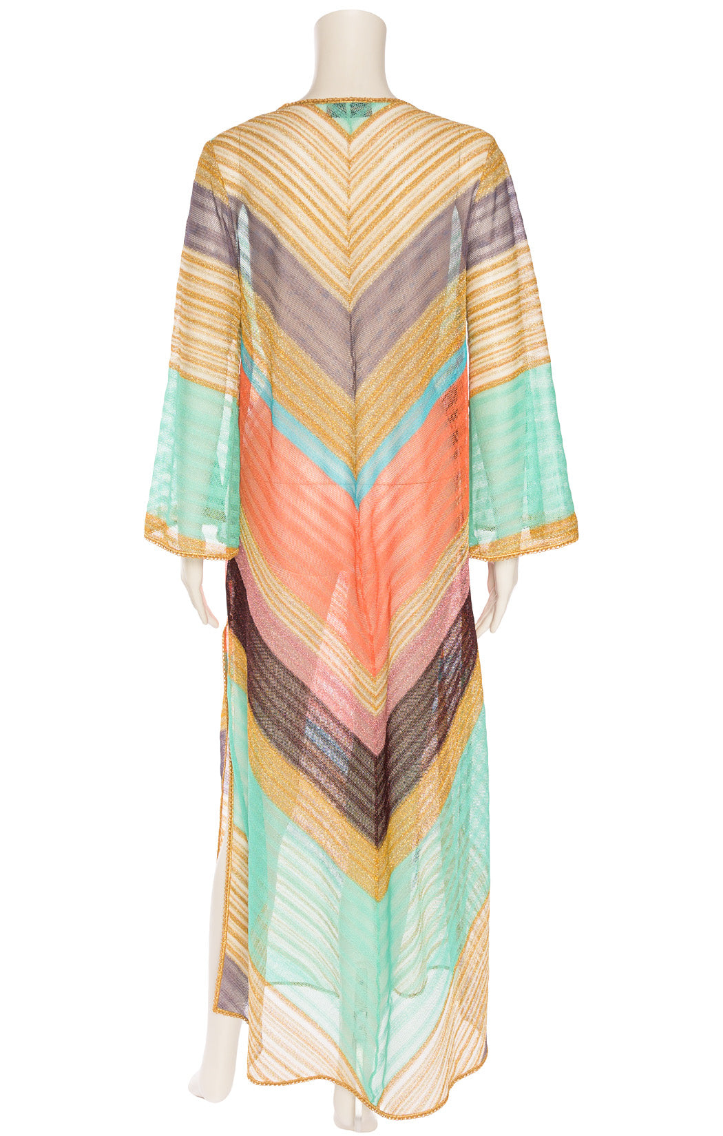 Multi colored caftan with gold lurex trim and lace up front and side slits
