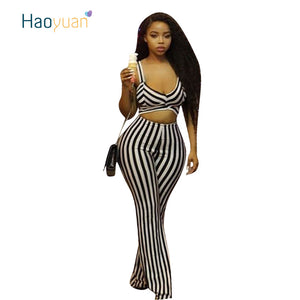 d518e8d8c39f HAOYUAN Plus Size Stripe Sexy Jumpsuit Summer New Hollow Out Backless  Overalls Sleeveless Wide Leg Pants Rompers Womens Jumpsuit