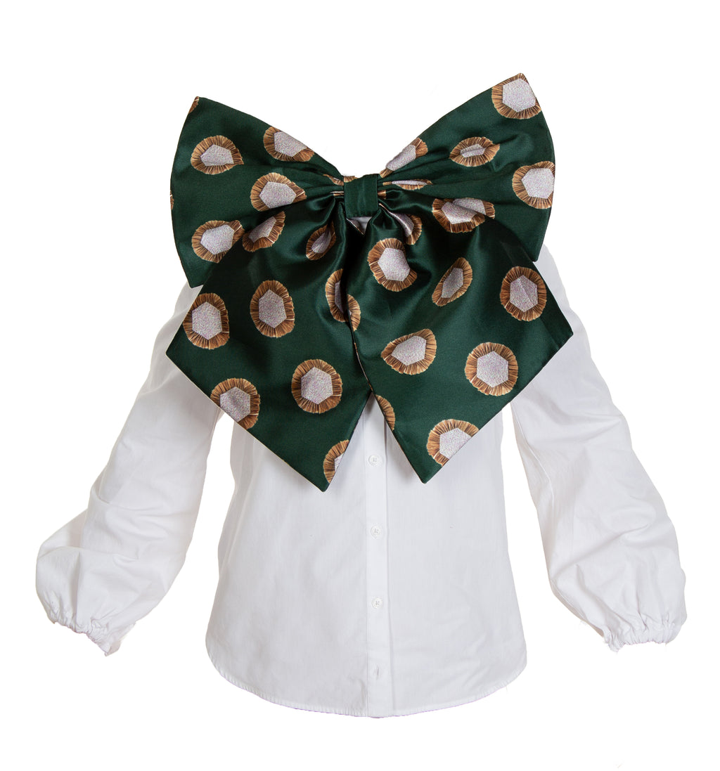 CHARLOTTE GREEN RAFFIA BOW BLOUSE (PREORDER)