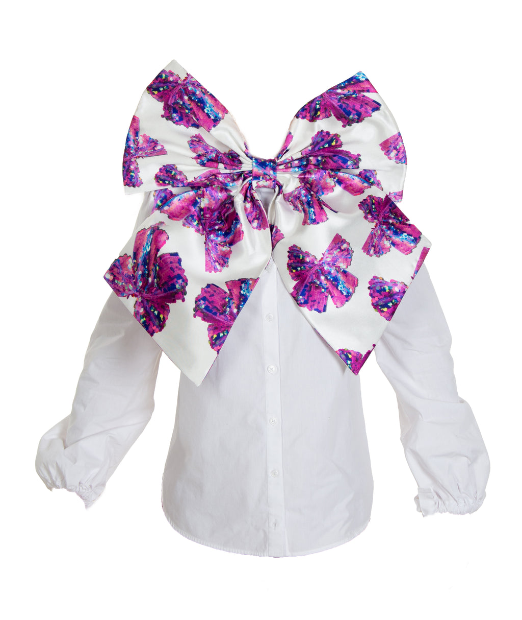 CHARLOTTE BOW PRINT BOW BLOUSE (PREORDER)
