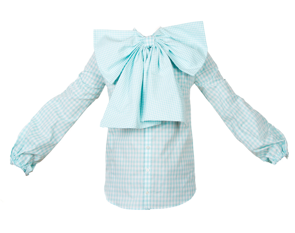 BOW TIE BLOUSE BLUE