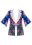 FREIDA FLORAL EMBROIDERY PRINTED COAT BLUE (TWO LEFT!)