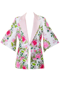 FREIDA FLORAL EMBROIDERY PRINTED COAT WHITE