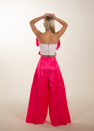 LAURA STRAPLESS BOW CROP PINK (PREORDER)