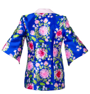 FREIDA FLORAL EMBROIDERY PRINTED COAT BLUE