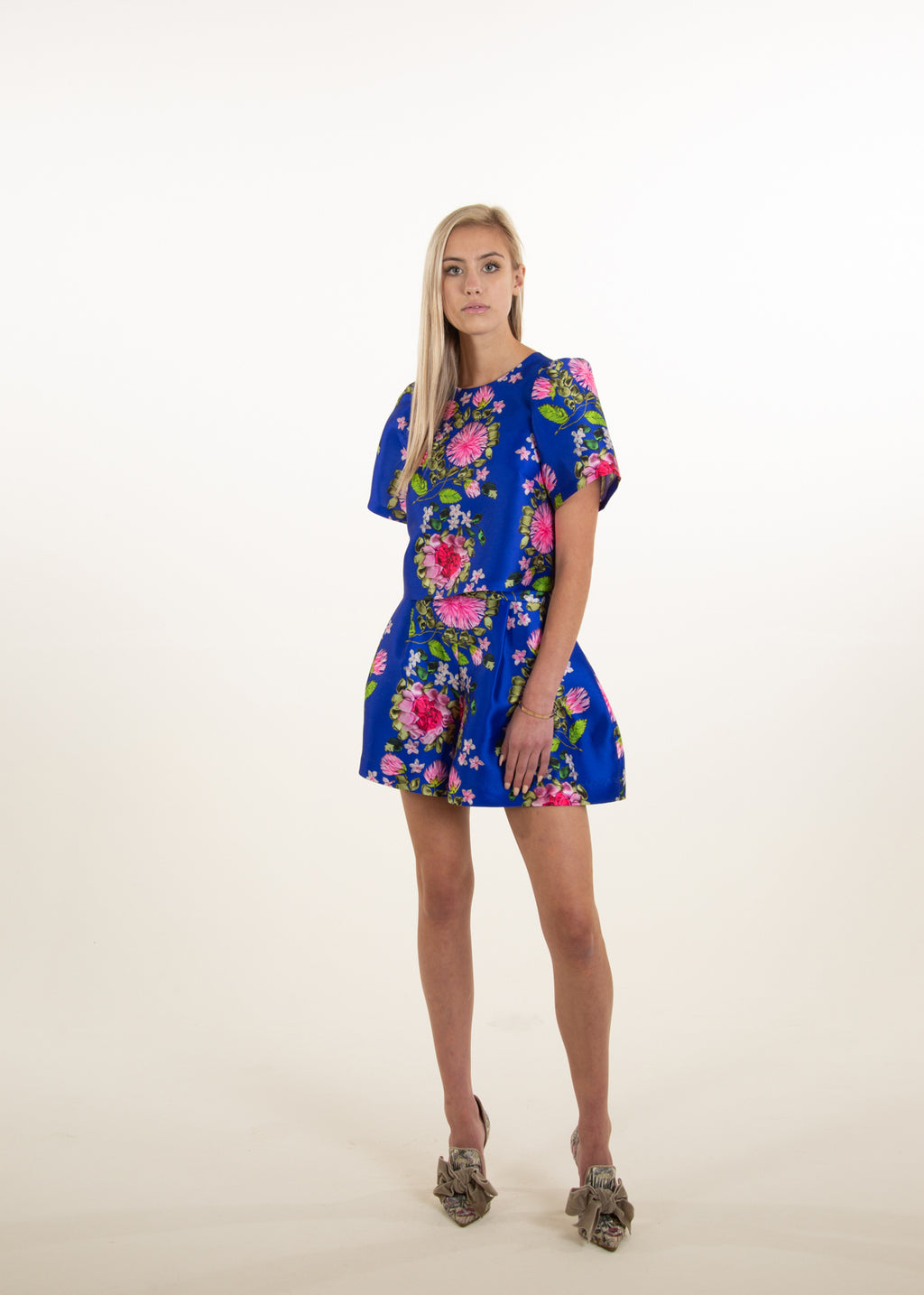 CARA FLORAL CROP BLUE