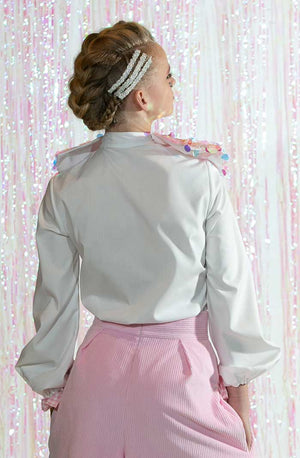CHARLOTTE WHITE SEQUIN BOW BLOUSE