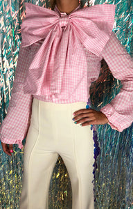 BOW TIE BLOUSE PINK