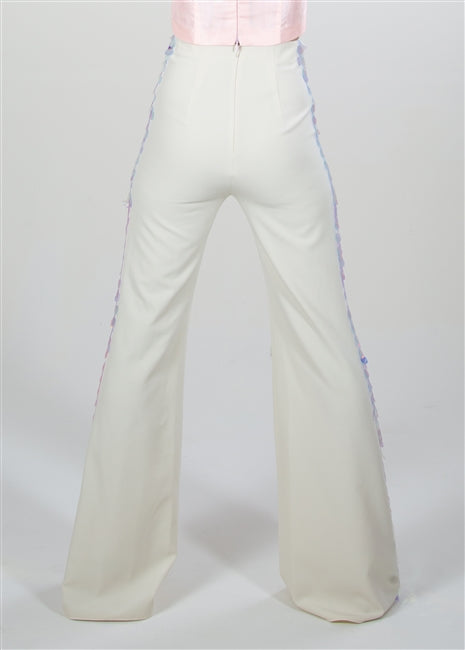 EMBELLISHED HIGH-WAIST TROUSER IVORY