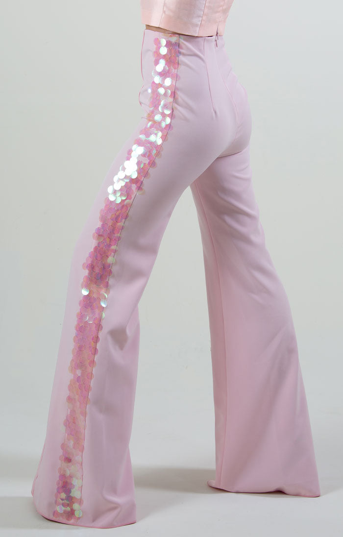 EMBELLISHED HIGH-WAIST TROUSER PINK