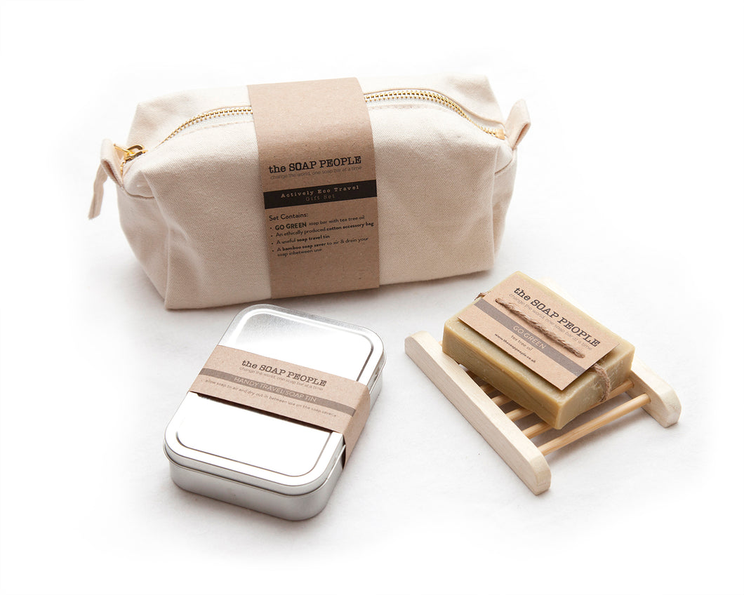 Actively Eco Travel Gift Set. Contains: Tea Tree Oil soap, bamboo soap saver and Handy travel soap tin, all in an ethically produced cotton accessory bag