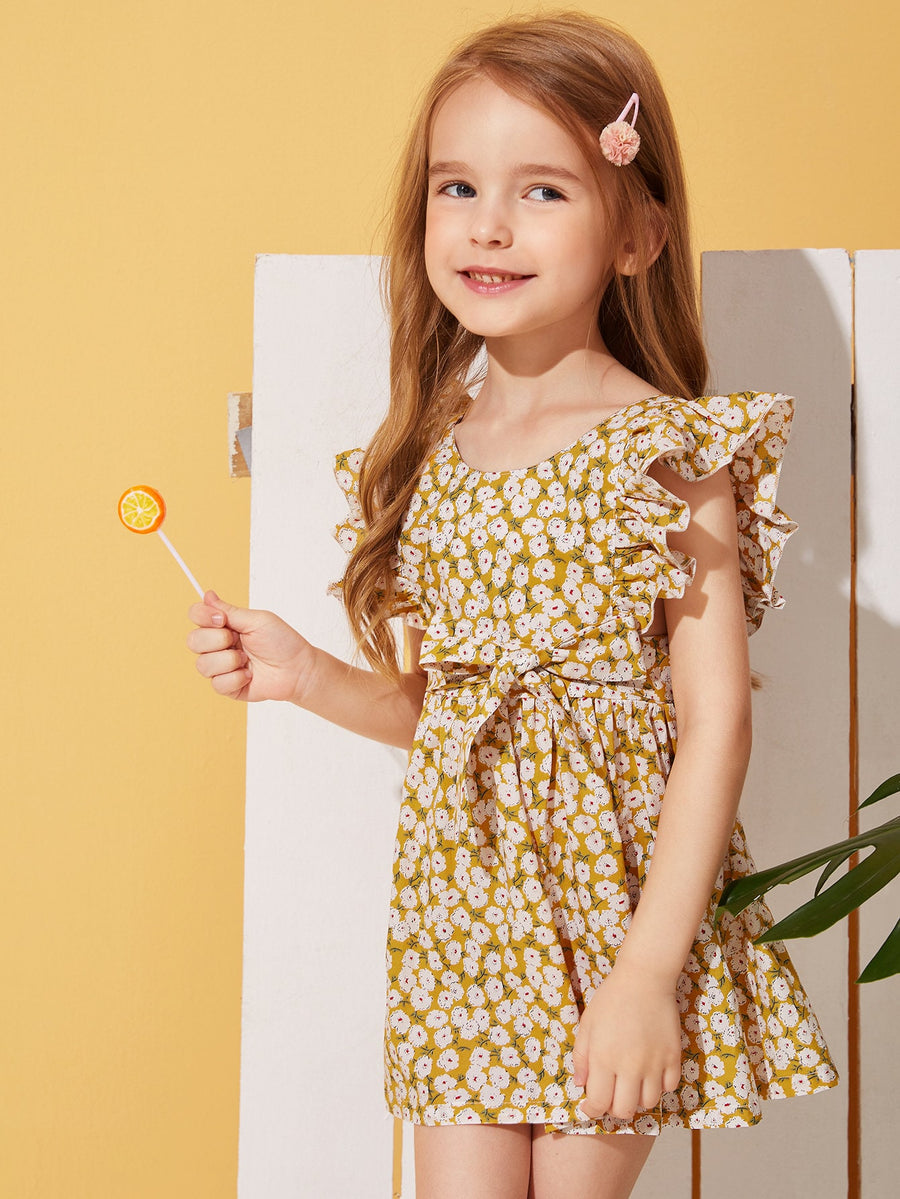 Toddler Girls Ditsy Floral Ruffle Trim Belted Dress - QAS KIDS TORE