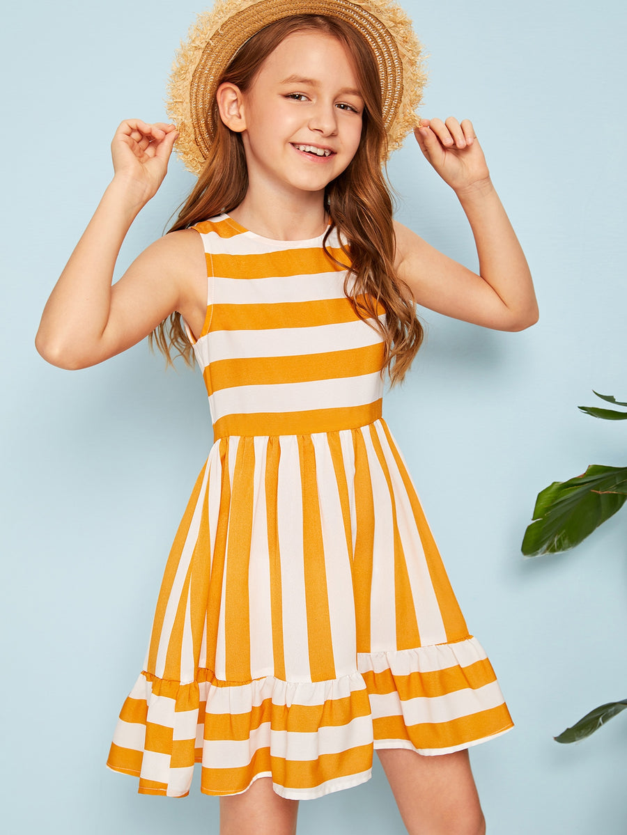 Girls Striped Flounce Hem Dress - QAS KIDS TORE